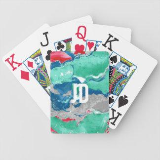 Blaues Grün roter und grauer Marmor Bicycle Spielkarten