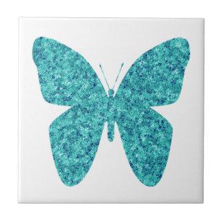 Blaues Grün-Schmetterling auf Weiß Kleine Quadratische Fliese