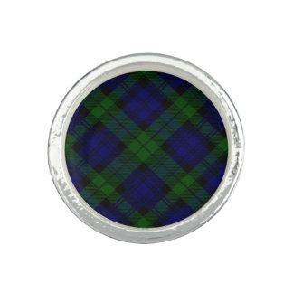 Blaues Grün schwarzen Uhrclan Tartan kariert Ring