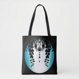 Blaues Grün-Schwarzeswisteria-Silhouette-Tasche Tasche