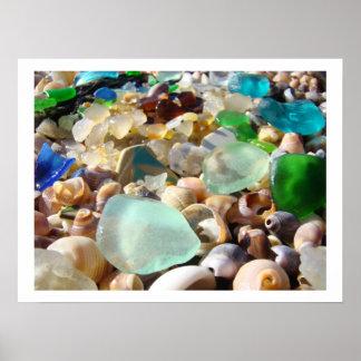 Blaues Grün Seaglass Kunst druckt Küstendekorative Plakatdruck