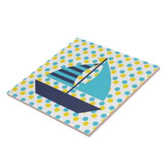 Blaues Grün-Segel-Boot Keramikfliese