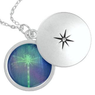 Blaues Grün-symbolische Libelle Sterling Silberkette
