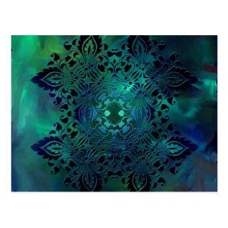 Blaues Grün-verzierter Entwurf Postkarte