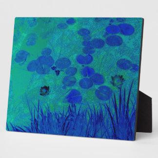 Blaues Grün-Wasser-Lilie Fotoplatte