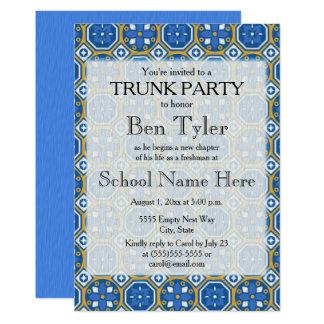 Blaues Grün-weißes ethnisches Mosaik-Stamm-Party Karte