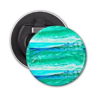 blaues/grünes Maui-Wellenmuster Thunder_Cove Runder Flaschenöffner
