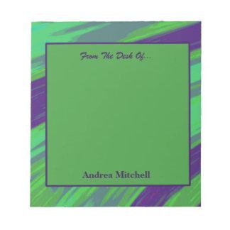 Blaues Grünmoderner Swish abstrakt Notizblock