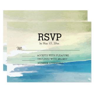 Blaues Grünwatercolor-Ozean-Strand-Hochzeit UAWG 8,9 X 12,7 Cm Einladungskarte