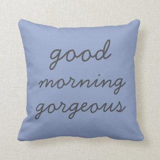 Blaues guter Morgen-herrliches modernes Kissen