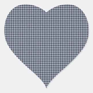 Blaues Hahnentrittmuster Alices im englischen Herz-Aufkleber
