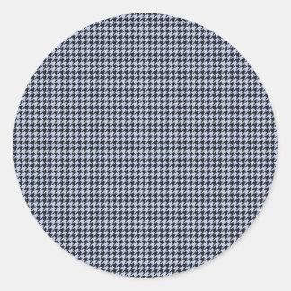 Blaues Hahnentrittmuster Alices im englischen Runder Aufkleber