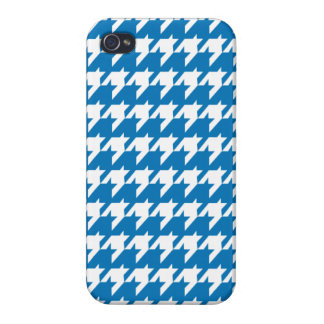 Blaues Hahnentrittmuster iPhone 4 Case