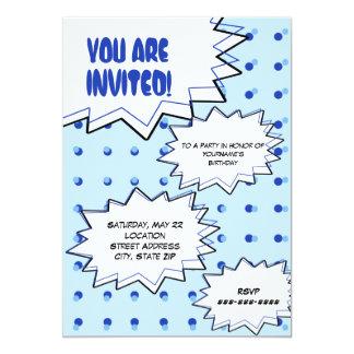 Blaues HalbtonPop-Kunst-Comic-inspirierte 12,7 X 17,8 Cm Einladungskarte