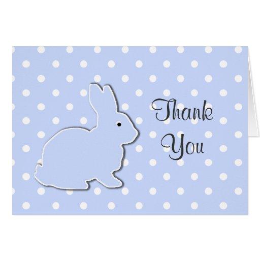 Blaues Häschen-Baby danken Ihnen Anmerkungs-Karte