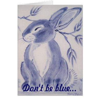 Blaues Häschen erhalten wohle Karte