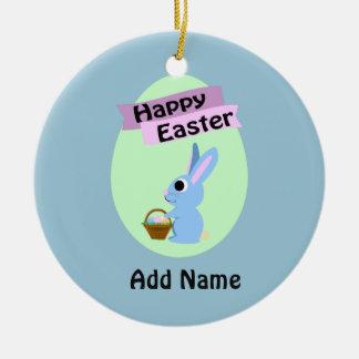Blaues Häschen fröhliche Ostern Rundes Keramik Ornament