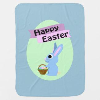 Blaues Häschen fröhliche Ostern Babydecken