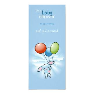 Blaues Häschen mit farbiger Baloons Babyparty 10,2 X 23,5 Cm Einladungskarte
