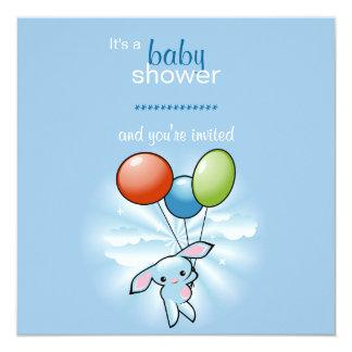 Blaues Häschen mit farbiger Baloons Babyparty Quadratische 13,3 Cm Einladungskarte