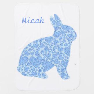 Blaues Häschen-personalisierte Baby-Decke