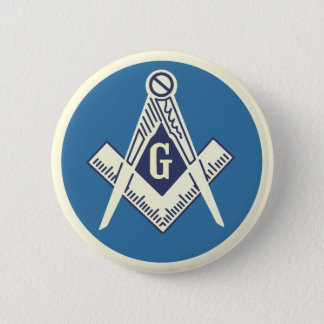 Blaues Häuschen-FreimaurerButton Runder Button 5,1 Cm