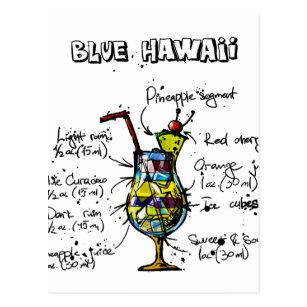 Blaues Hawaii-Cocktail-Rezept Postkarte