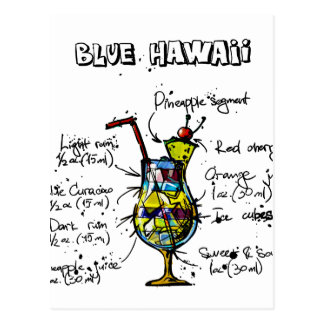 Blaues Hawaii-Cocktail-Rezept Postkarte