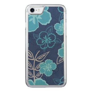 Blaues hawaiisches Hibiskus-Muster Carved iPhone 8/7 Hülle