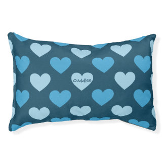 Blaues Herzmuster Haustierbett