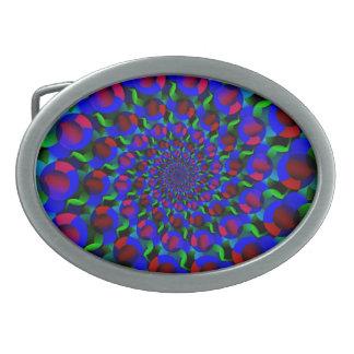 Blaues Hippie-Spirale-Fraktal-Kunst-Muster Ovale Gürtelschnalle