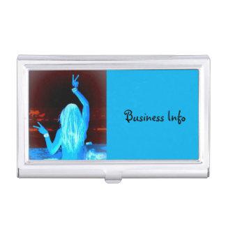 blaues Hippiemädchen Visitenkarten Etui