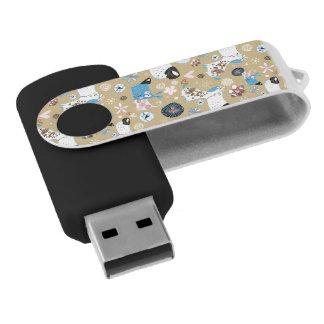 Blaues Hündchen-Muster Swivel USB Stick 2.0