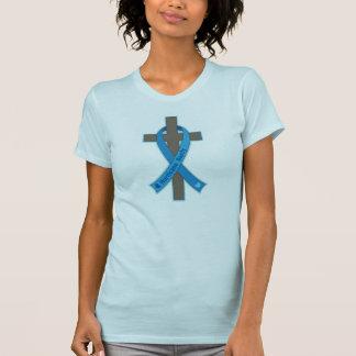 Blaues Hurrikan-Sandy-Bewusstseins-Band-Kreuz T-Shirt
