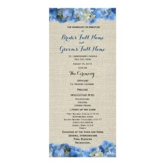 Blaues Hydrangea-und Leinwand-Hochzeits-Programm Karten Druck