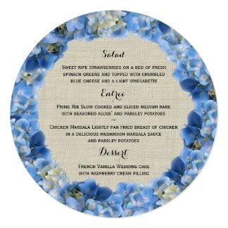Blaues Hydrangea-und Leinwand-rundes Menü Ankündigung