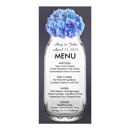 Blaues Hydrangea-Weckglas-Hochzeitsmenü hydrangea7 Werbekarten