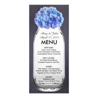 Blaues Hydrangea-Weckglas-Hochzeitsmenü hydrangea7 Werbekarte