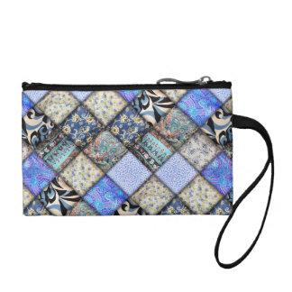 Blaues Imitat-Patchwork-steppendes Muster Münzbörse
