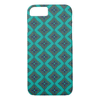 Blaues iPhone 7 Gehäuse mit Diamant Ajrak Muster iPhone 8/7 Hülle