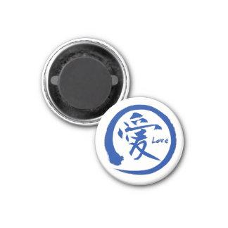 Blaues japanisches Kanjisymbol enso Kreises | für Runder Magnet 3,2 Cm