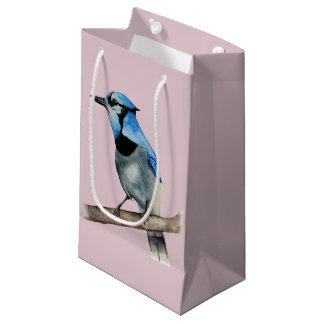 Blaues Jay auf Niederlassungwatercolor-Malerei Kleine Geschenktüte