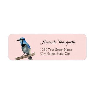 Blaues Jay auf Niederlassungwatercolor-Malerei Rückversand-Adressaufkleber