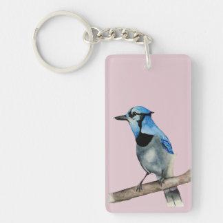Blaues Jay auf Niederlassungwatercolor-Malerei Schlüsselanhänger