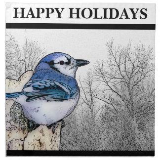 Blaues Jay, das Servietten zeichnet
