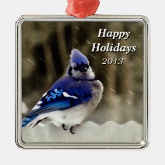 Blaues Jay-Foto Silbernes Ornament
