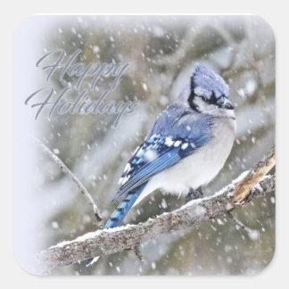 Blaues Jay im Schnee-Weihnachtsfeiertag Quadratischer Aufkleber