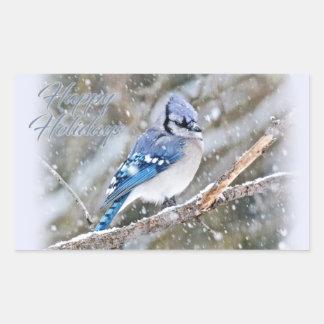 Blaues Jay im Schnee-Weihnachtsfeiertag Rechteckiger Aufkleber
