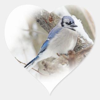 Blaues Jay im Winter-Schnee Herz-Aufkleber