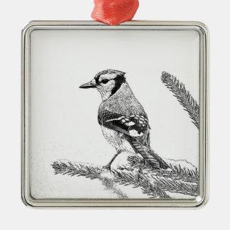 Blaues Jay in der Winter-Skizze Quadratisches Silberfarbenes Ornament